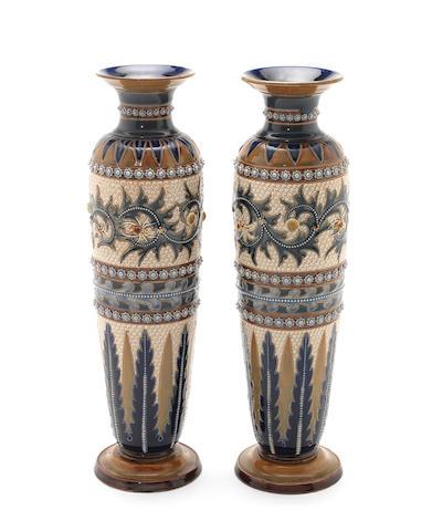 Pair of Doulton vases by George Tinworth
