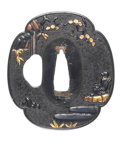 A ko-kinko shakudo tsuba 16th century