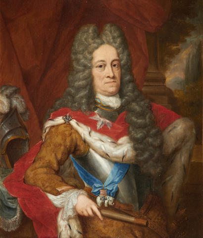 Jan Vollevens the Younger (Dutch, 1685-1758) Portrait of a military gentleman, possibly Frederick IV, wearing the 'order of Elephantordenens',