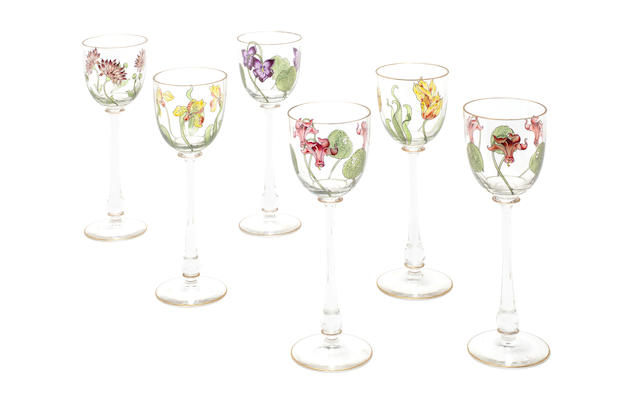 Six enamelled art nouveau drinking glasses