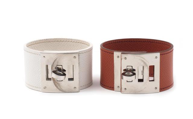 Two Hermès leather cuffs