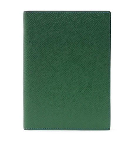 An Hermès blue and green leather Agender