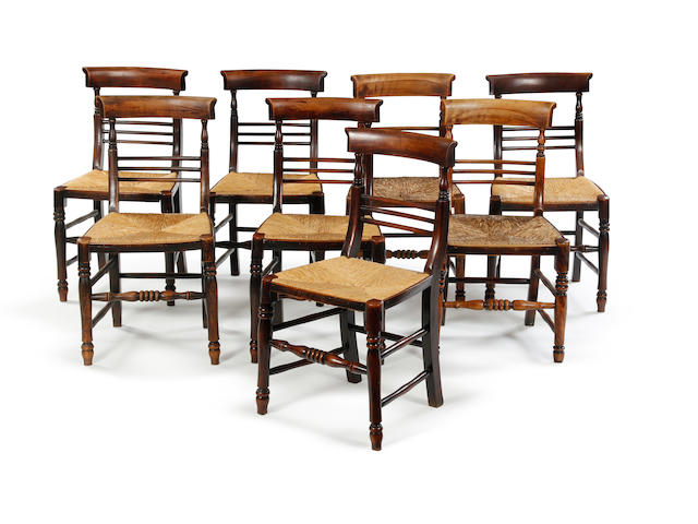 A near set of eight late 19th century alder and cane dining chairs North West
