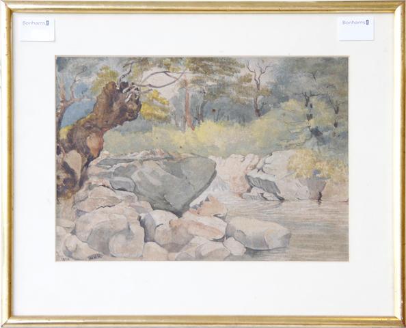 English School, (19th Century) The mountain stream