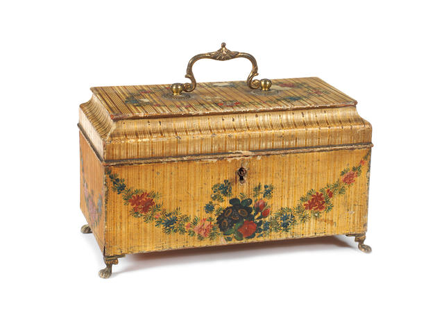 A George III white lacquered???, parcel gilt and polychrome decorated tea caddy