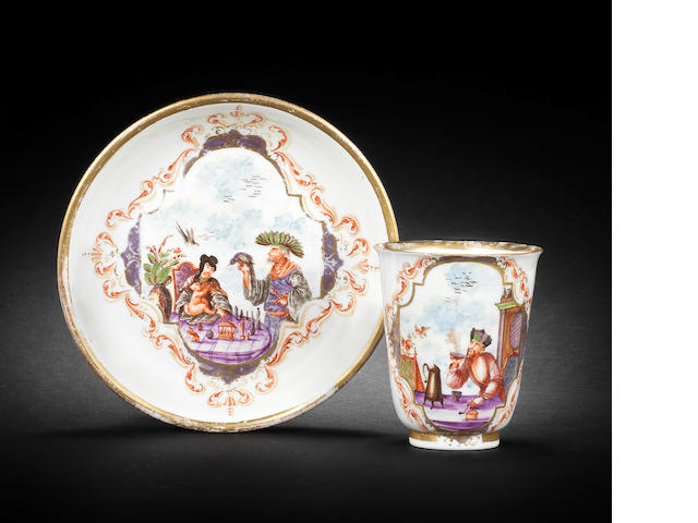 A very rare Meissen beaker and saucer, circa 1721-22