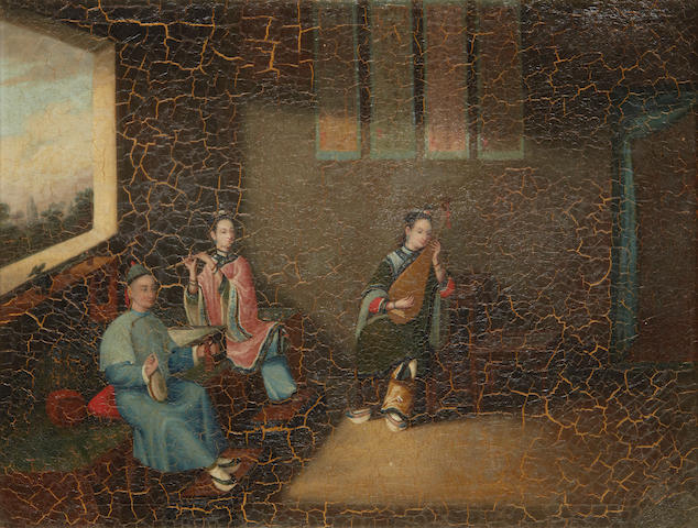 Chinese School, 19th Century Musicians in an interior