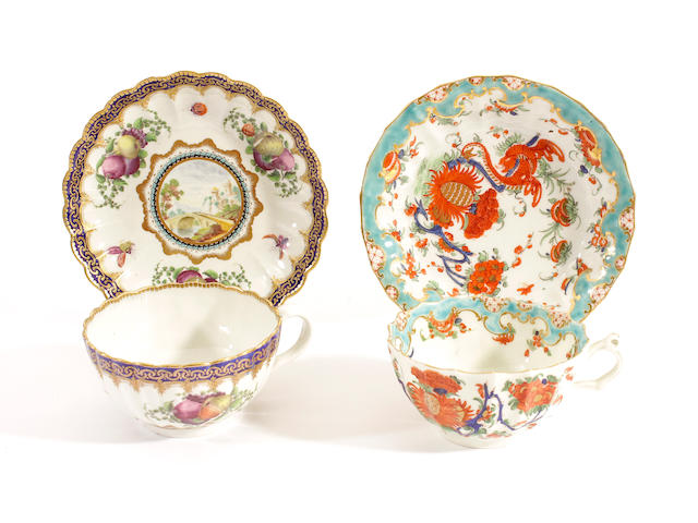 Two Worcester cups and saucers, circa 1780 and 1770