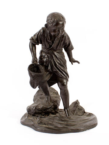 A Japanese bronze figure of a fisherboy, 20th century