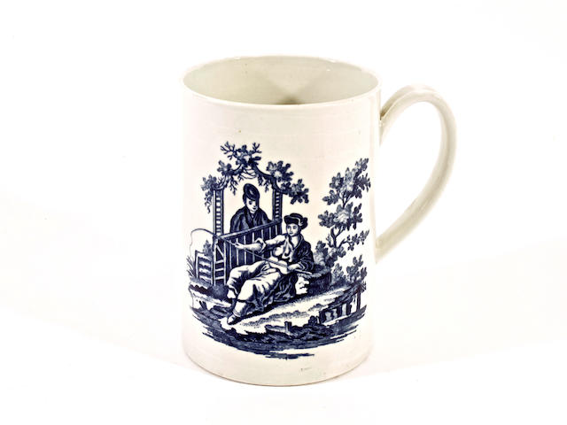 A Worcester blue and white mug, circa 1775