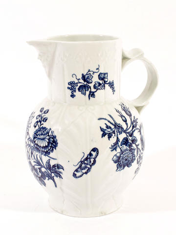 A Worcester cabbage leaf mask jug, circa 1760-70