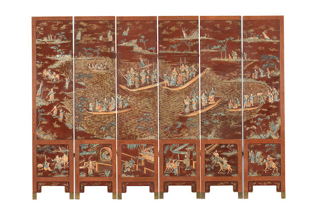 An extremely rare ivory-embellished lacquer six-leaf screen 18th/19th century