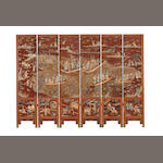 An extremely rare six-leaf ivory-embellished screen  18th/19th century