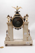 A Louis XVI white marble and ormolu mounted Portico clock Bertrand A Paris