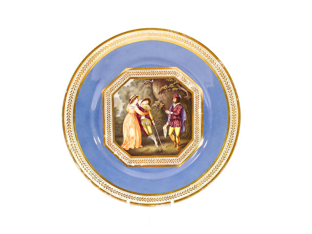 A Derby plate of Shakespeare service type, circa 1820