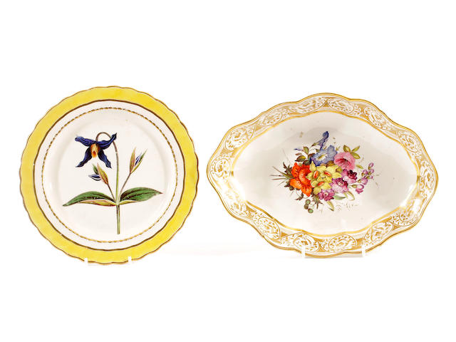 A Derby botanical dessert plate and a Derby deep dish, circa 1800-1820