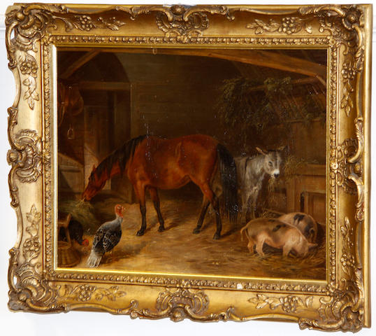 Follower of John Frederick Herring, Jnr. (British, 1815-1907) Horse in a stable with donkey, pigs and turkeys