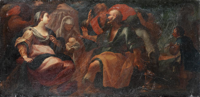 Attributed to Giovanni Camillo Sagrestani (Florence 1660-1731) The Birth of Isaac; and Hagar banished by Abraham (2) unframed