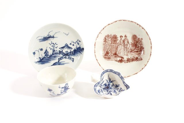 A Longton Hall saucer, a Worcester saucer, a Worcester teabowl and a butterboat, 18th century