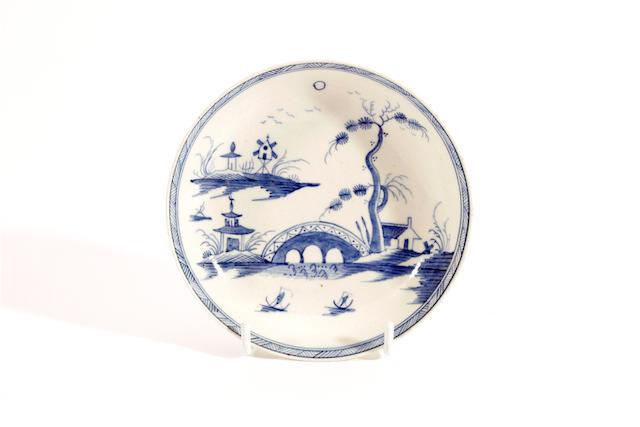 A rare Caughley saucer, circa 1780