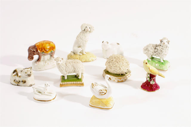 A collection of ten Staffordshire miniature models of animals, 19th century