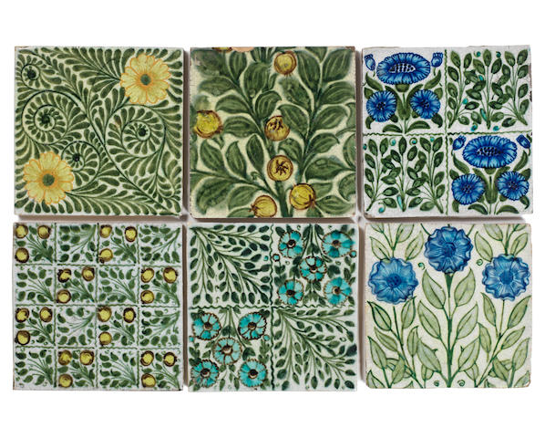 William De Morgan Six Floral Subject Tiles, late 19th Century