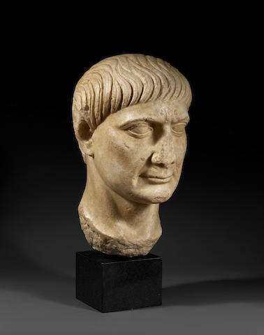 A large Roman marble portrait head of the Emperor Trajan