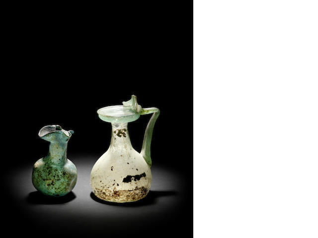 Two Roman glass juglets  2