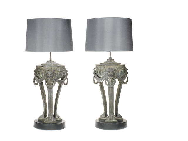 A pair of 19th century burners converted to table lamps