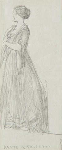 Dante Gabriel Rossetti (British, 1828-1882) Study of a lady standing