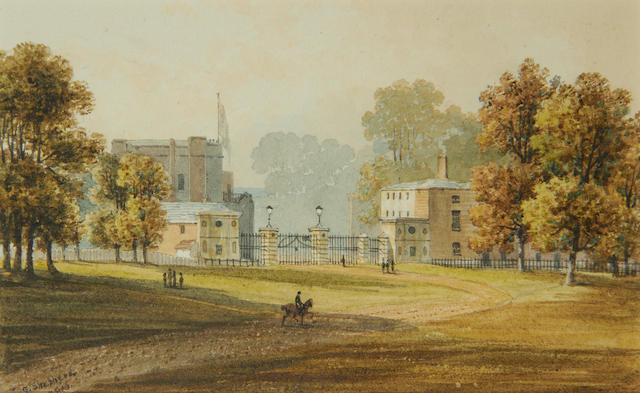 George Shepherd (British, active 1800-1830) Entrance Lodge to Richmond Great Park and the back of the Star and Garter Tavern, Surrey