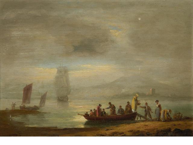Thomas Luny (British, 1759-1837) Figures disembarking a boat