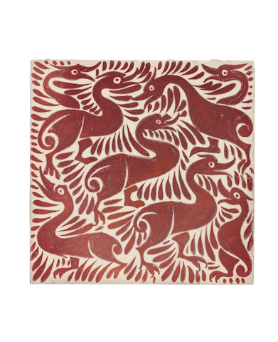 William De Morgan 'Fantastic Ducks' a Ruby Lustre Tile, circa 1890