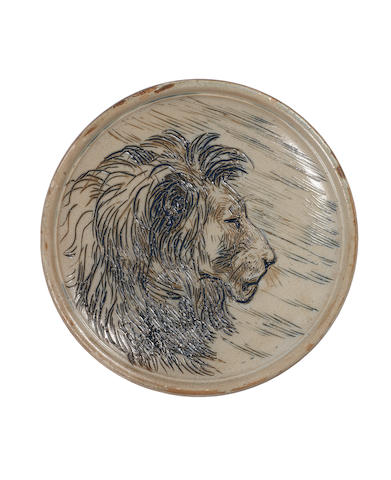Hannah Barlow for Doulton Lambeth a Plaque with Lion Head, 1879
