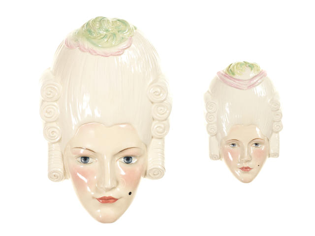 Doulton Burslem 'Madame Pompadour' Two Face Masks, HN 1823 1937-40 and HN 1824 1938-40