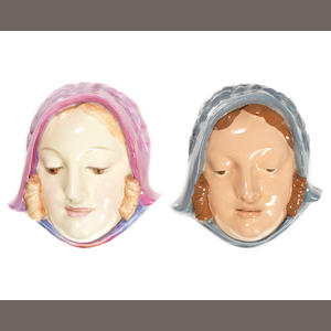 Doulton Burslem 'Sweet Anne' Two Face Masks, HN1590 1933-40 and HN1602 1933-40