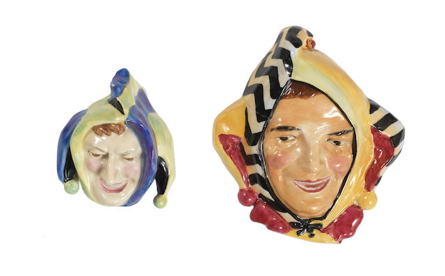 Doulton Burslem Two 'Jester' Face Masks, HN1673 1935-40 and HN 1609 1934-40