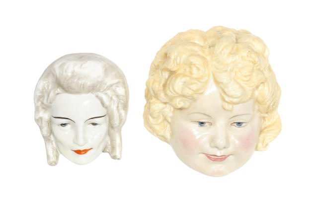 Doulton Burslem 'Baby Shirley Temple' and 'Lady with Short Wavy Hair' Two Face Masks, HN1608 1933-40 and HN 1672 1935-40