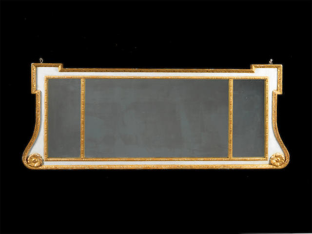 A George II later white painted and parcel gilt landscape mirror