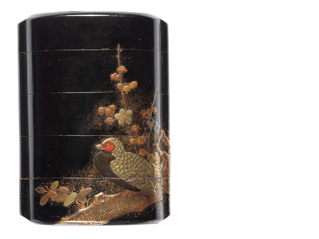 A black lacquer four-case inro By Yamada Jokasai, 19th century