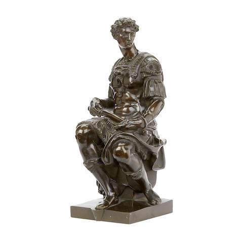 After Michelangelo (Italian, 1475-1564): A late 19th century bronze figures of Giuliano de' Medici, Duke of Nemours cast by Sauvage