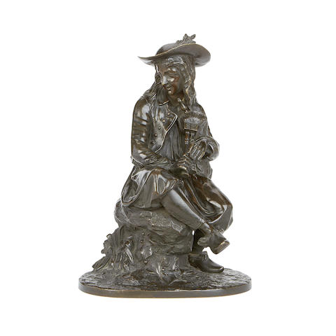 Manner of Jean-Jacques Feuchère (French, 1807-1852) A 19th century bronze figure of a bagpipe player