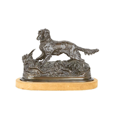 Pierre Jules Mêne, French (1810-1879)  A bronze model of a hunting dog Chien Épagneul (Sylphe)