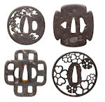 Four various iron tsuba 16th to 18th century