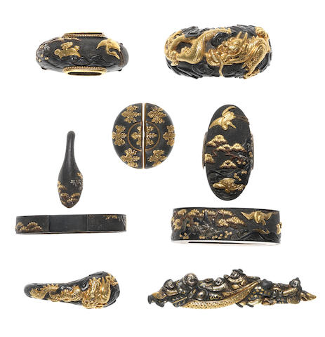 Eight shakudo sword fittings 19th century
