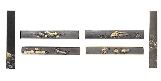 Six shakudo kozuka 18th to 19th century