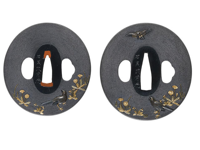 A pair of shakudo tsuba for a daisho Attributed to Ishiguro Masatsune, 19th century