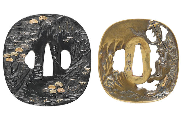 Two tsuba of shakudo and sentoku 19th century