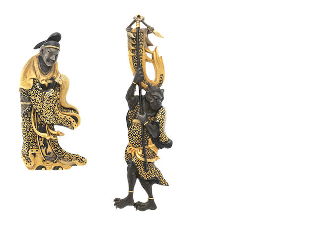 A large pair of mixed metal Mito menuki 19th century