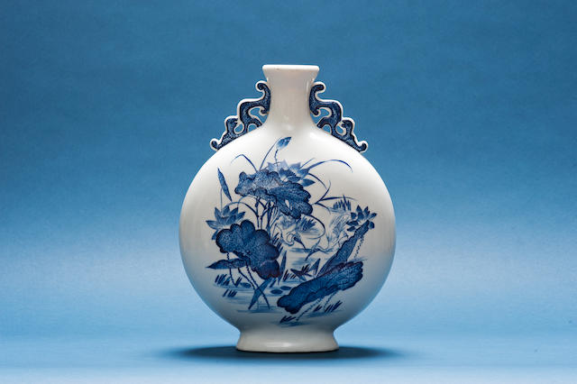 A blue and white moonflask Guangxu six-character mark and probably of the period